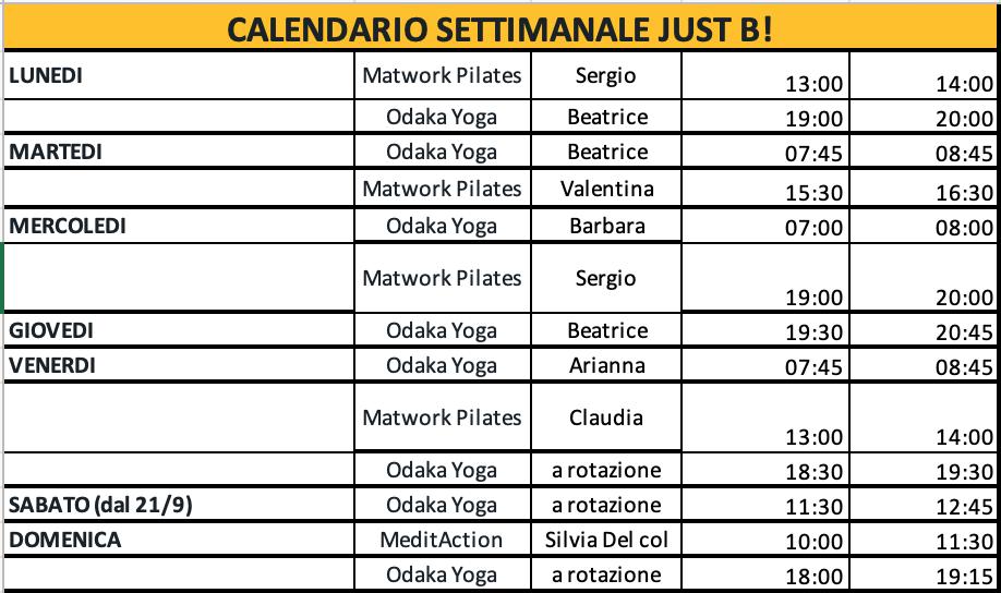 Calendario Corsi.Calendario Corsi Just B